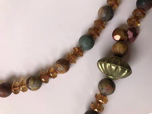 Necklace with Dakota Stones, double crystal spacers, and brass accent beads