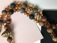 Load image into Gallery viewer, Necklace with Dakota Stones, double crystal spacers, and brass accent beads