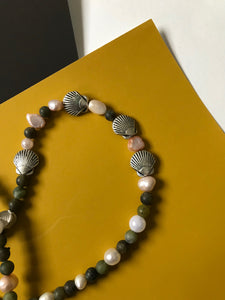 Beaded necklace of stones, pearls and silver seashells