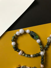 Load image into Gallery viewer, Beaded necklace of stones, pearls and silver seashells