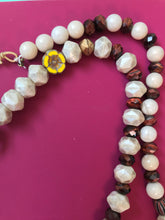 Load image into Gallery viewer, Beaded necklace with faceted white & iridescent beads