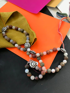 Necklace of Dakota Stones and Flower -shaped Ceramic Beads