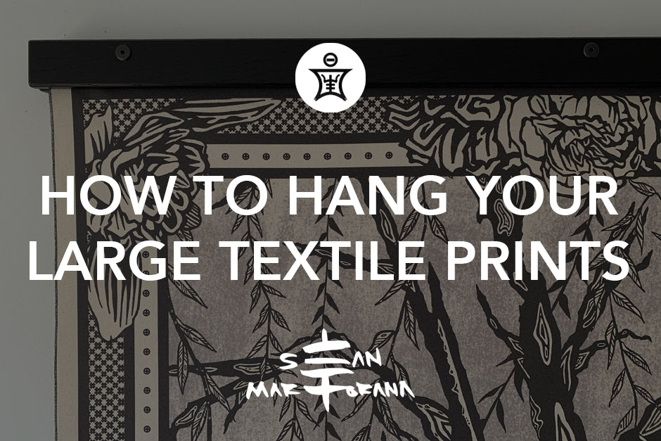 How to hang your large tapestry textile art print wall hangings.