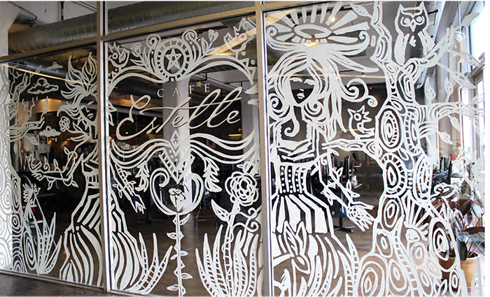 Cafe Estelle Window Painting Sean Martorana