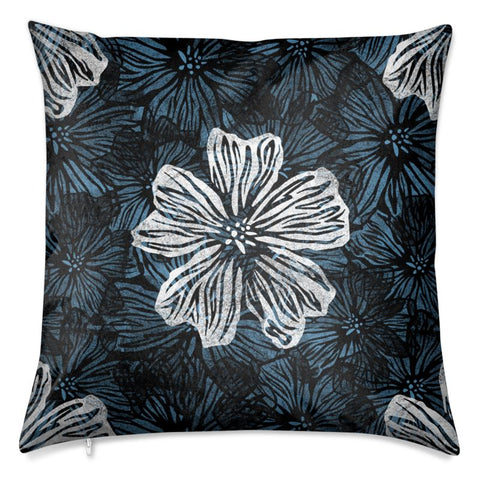 Violet Floral Velvet Cushion Large