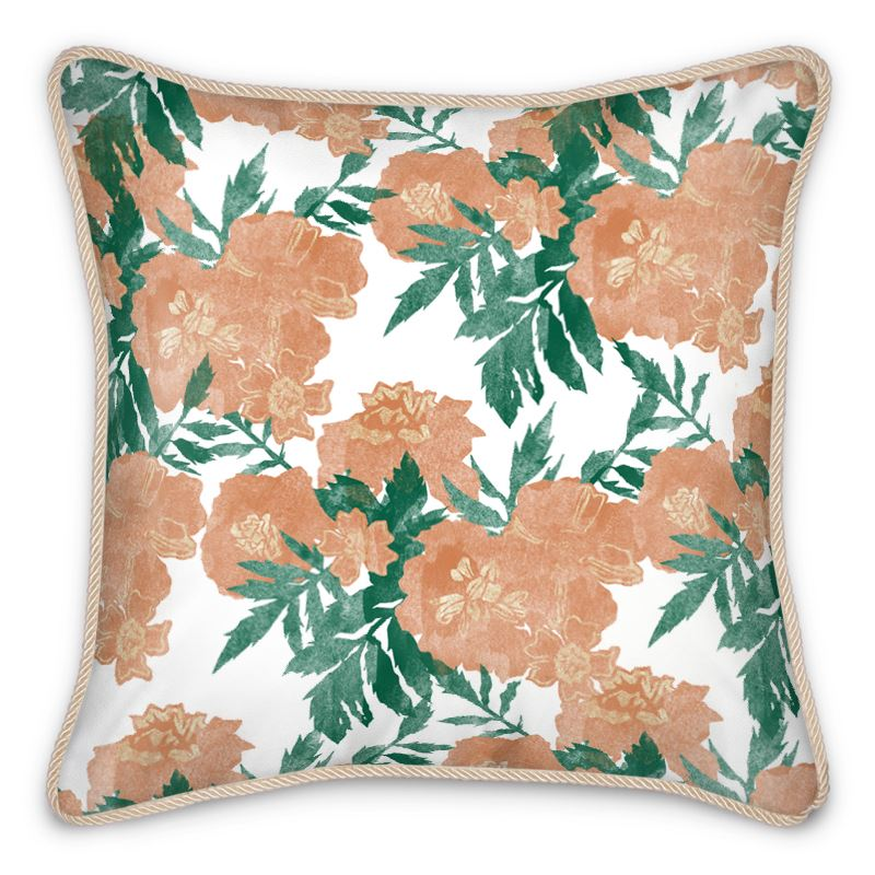 Marigold Floral Silk Cushion