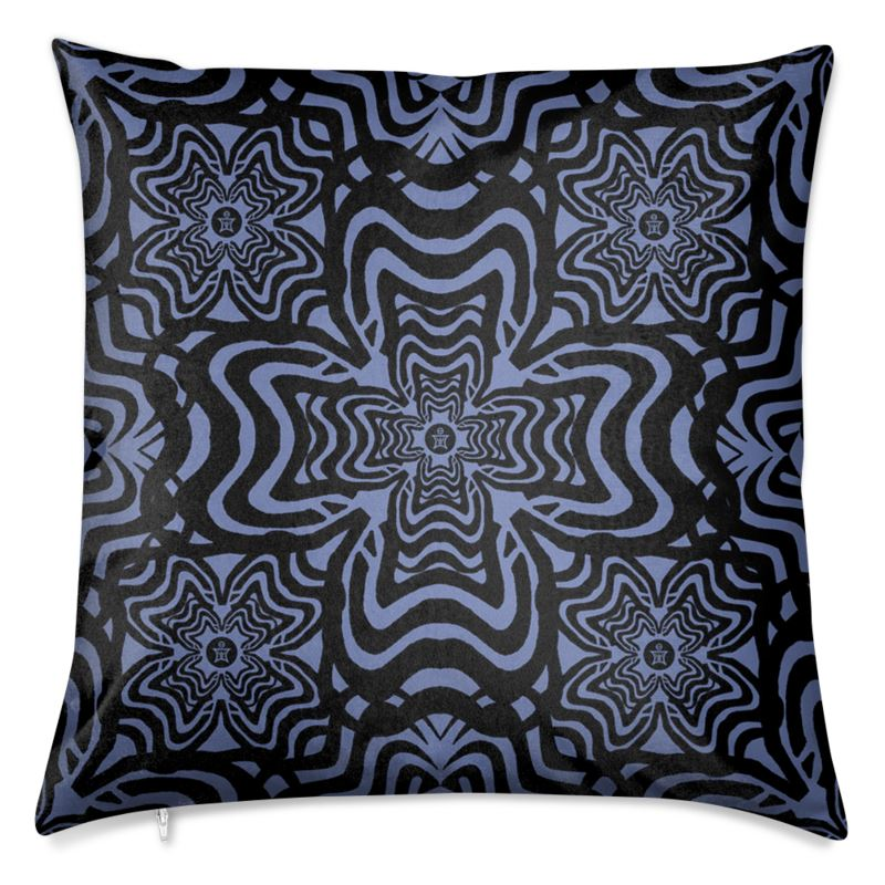 Rooster Feather Blue Velvet Cushion