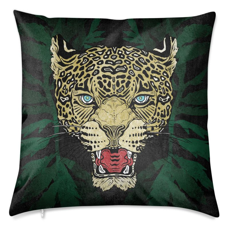 Jaguar w/ Marigold Leaves Velvet Cushion