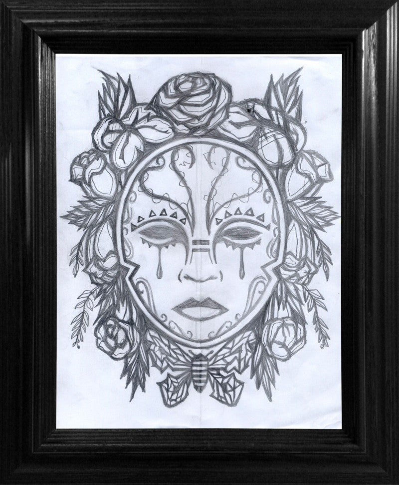 A Mask to Hide the Truth Drawing - Framed