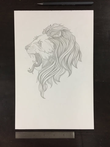 Original drawing #017 - Lion's Head