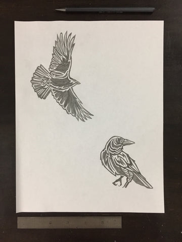 Original drawing #051 - Two Crows