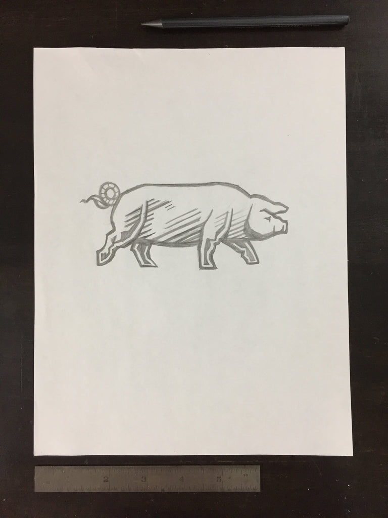 Original drawing #054 - Marching Pig
