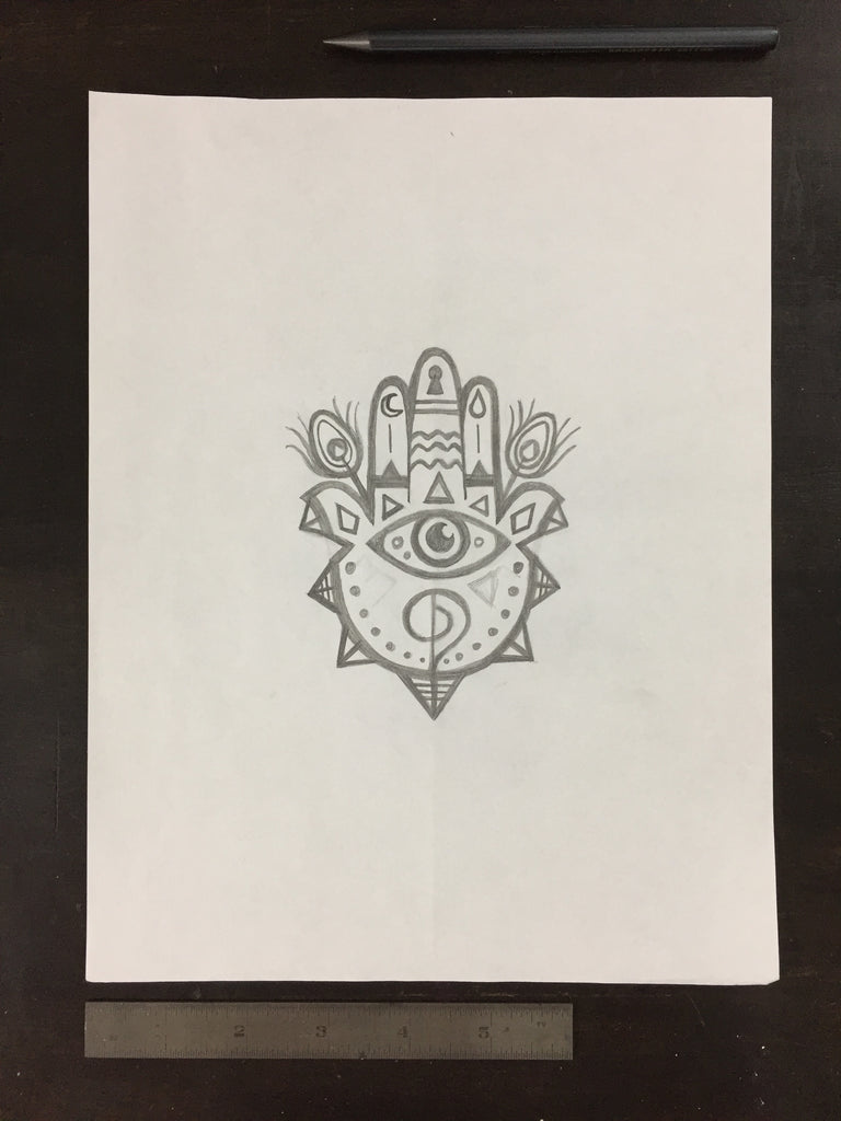 Original drawing #055 - Hamsa Hand