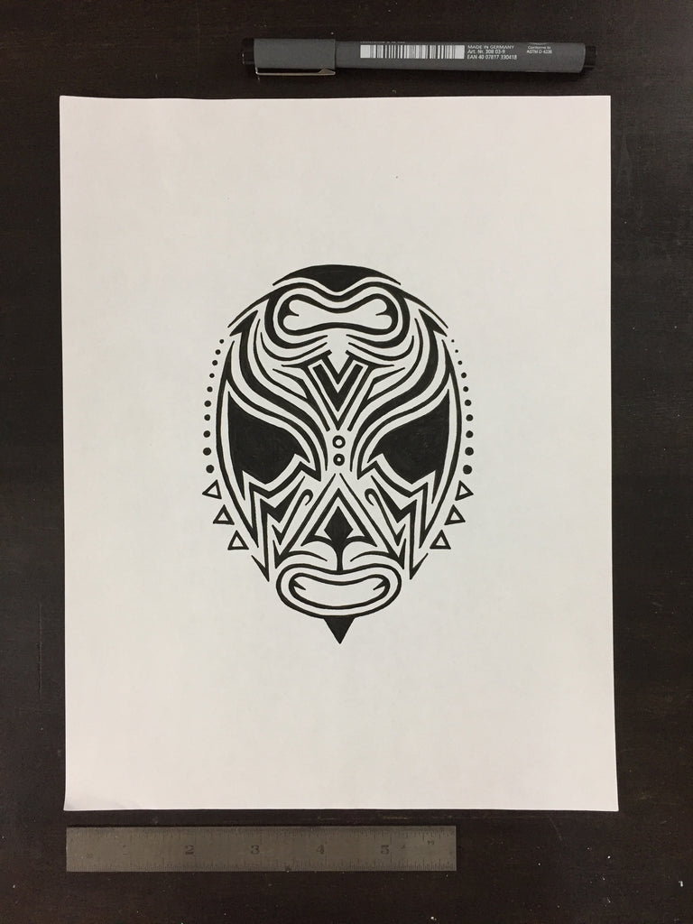 Original drawing #058 - Reversible Lucha Mask 2