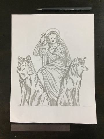 Original drawing #087 - Protecting the Queen
