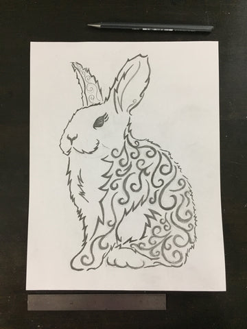 Original drawing #094 - Baroque Rabbit