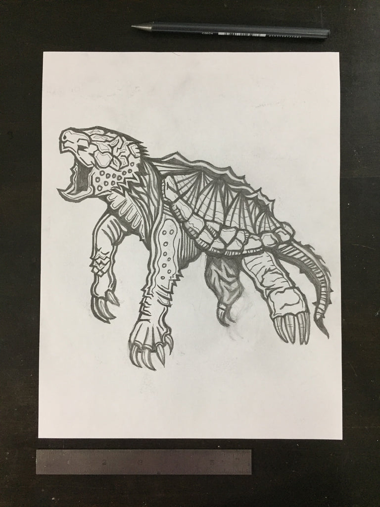 Original drawing #095 - Alligator Snapping Turtle