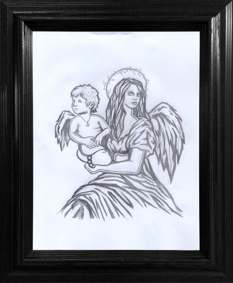 Mother and Child Drawing - Framed