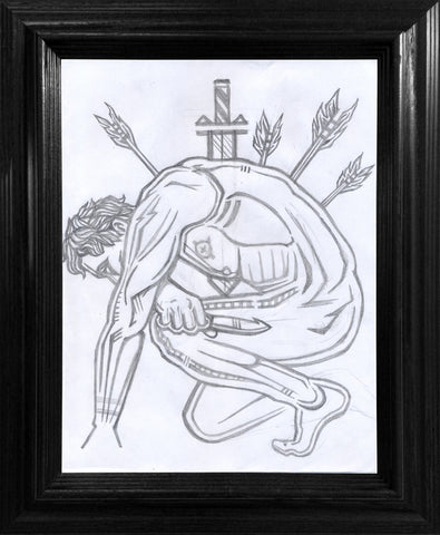 Alone with My Thoughts Drawing - Framed