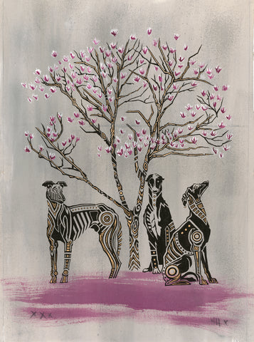 Greyhounds Under a Magnolia Tree