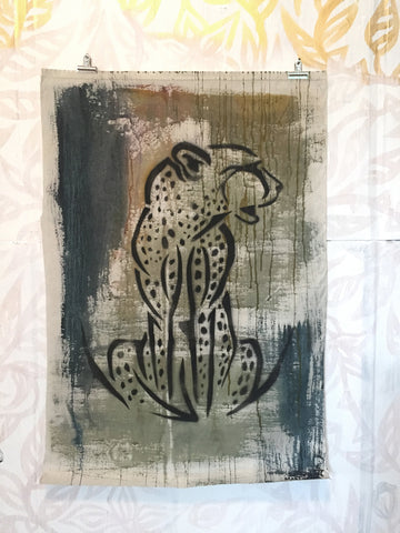 Cheetah Stencil on Fabric