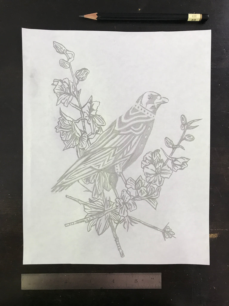 Original drawing #112 - The Raven in the Larkspur