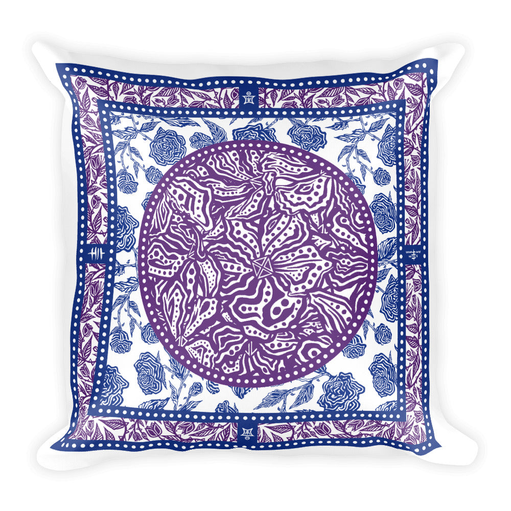Flourish - Square Pillow Blue Purple