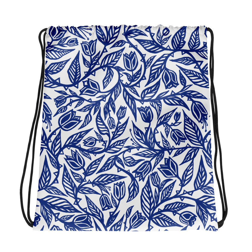 Flourish Tulips - Drawstring bag Blue