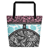 Flourish Beach Bag - Pink & Light Blue