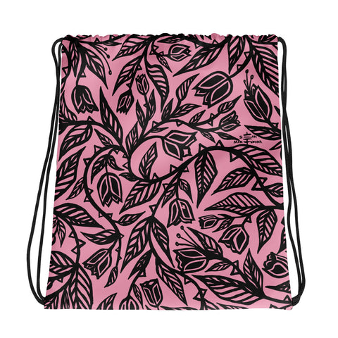 Flourish - Drawstring bag - Pink & Black