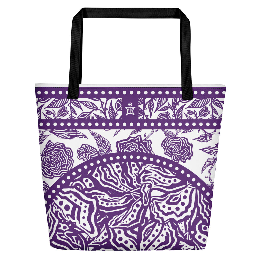 Flourish Collage - Beach Bag Purple