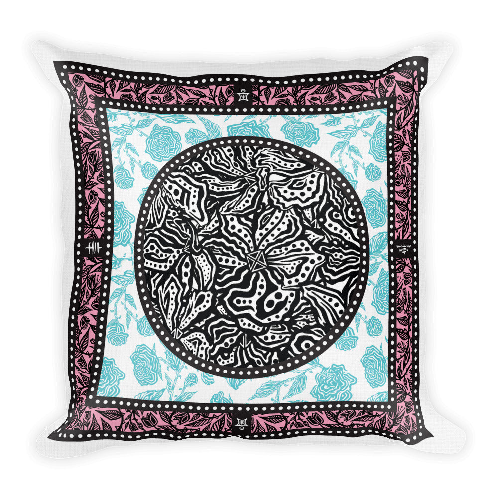 Flourish Collage - Premium Pillow - Pink & Light Blue