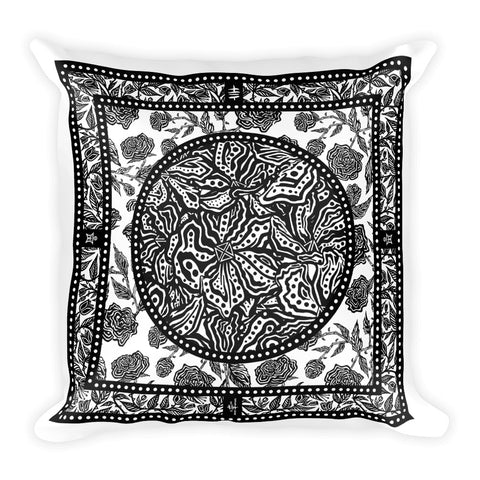Flourish - Square Pillow Black