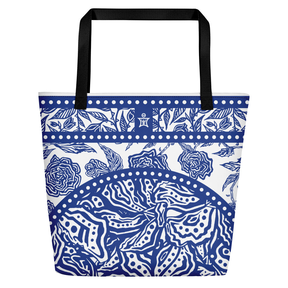 Flourish Collage - Beach Bag Blue
