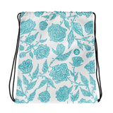 Flourish Roses - Drawstring bag - Light Blue