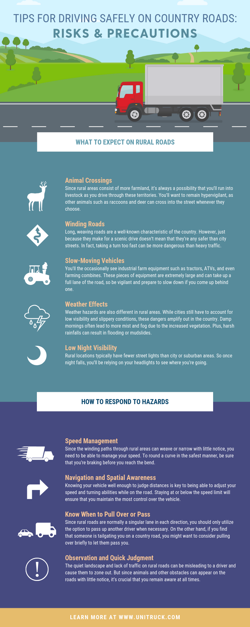 Tips for Driving Safely on Country Roads Risks & Precautions infographic