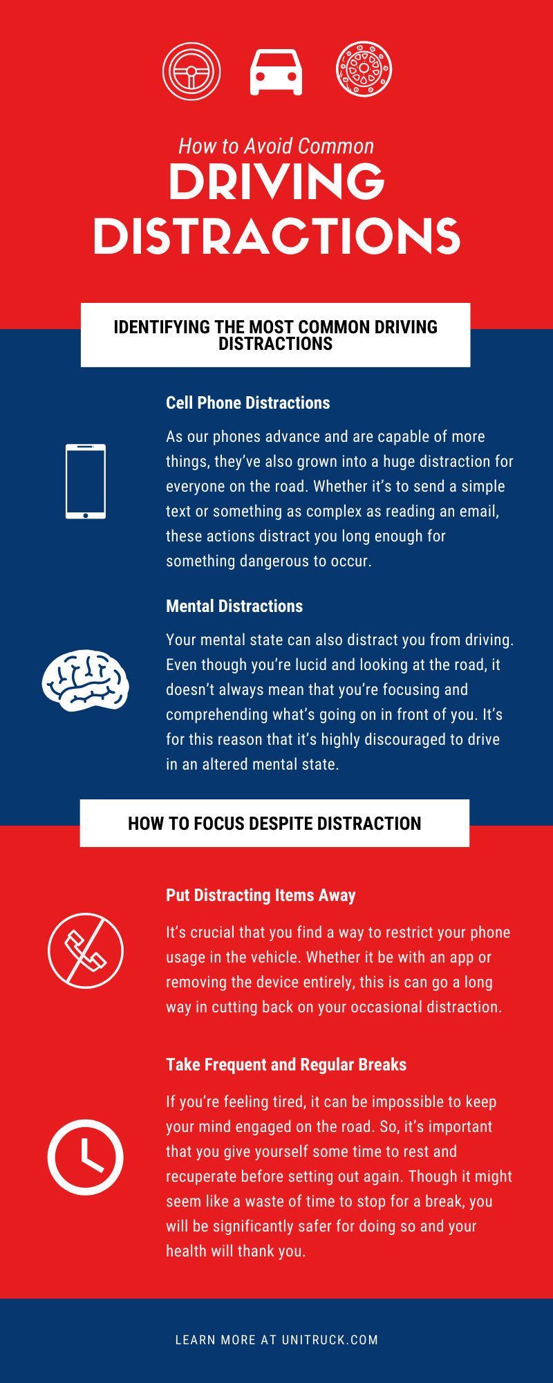 How to Avoid Common Driving Distractions infographic
