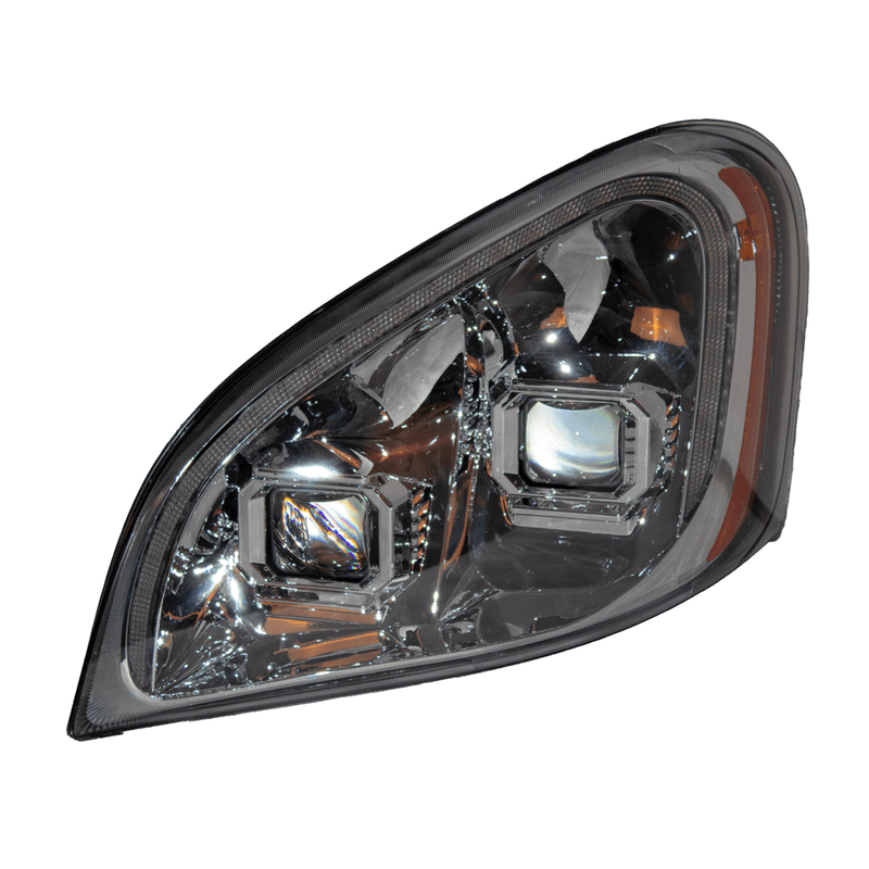 Freightliner Cascadia (08-17) Head Lamp Assembly SET Manual (Halogen) with LED Indicator Stripe
