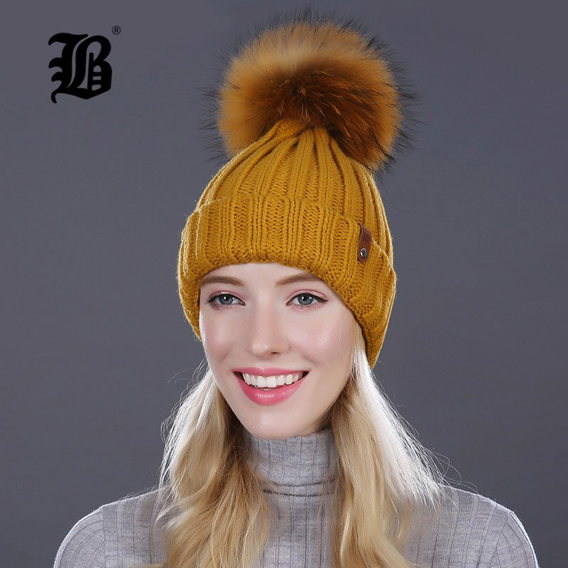 9b71dee1c56 ...  FLB  Wholesale Real Mink Fur Pom Poms Knitted Hat Ball Beanies Winter  Hat For ...