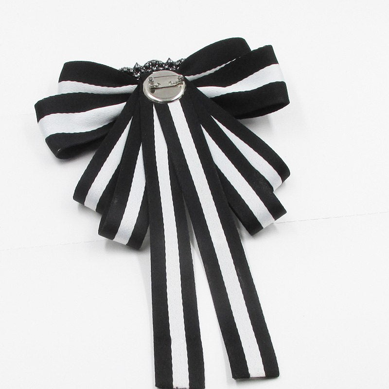 0ac49bbd63d ... White black Vintage Fabric Bow Brooches Women Neck Tie Stripe Pins  Party Wedding Large Ribbon Brooch ...