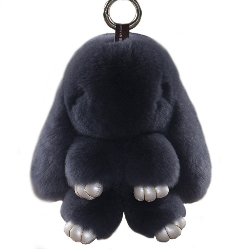 d2c9a4d2d62 ... 14cm Fluffy Bunny Dolls Keychain Girls School Bag Charm Fashion Cute  Youth Girl Purse Handbag Charm ...
