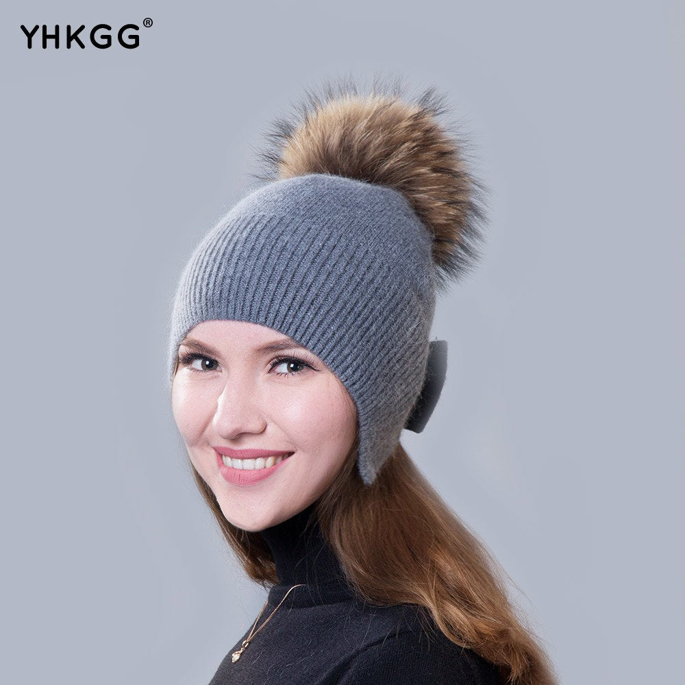 ... YHKGG Winter Hats Wool Women s Autumn Vogue 2018 Brand New Bow-Knot  Warm Layer Knitted ... 09fce52cd47