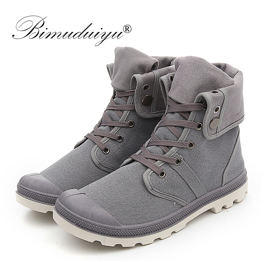 bb8e64a9073a ... BIMUDUIYU Autumn Winter Men Canvas Boots Army Combat Style Fashion  High-top Military Ankle Boots ...