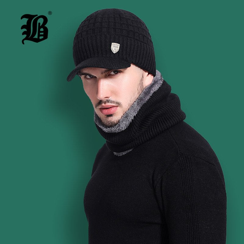 FLB  Skullies Beanies Men Scarf Knitted Hat Cap Male Plus Gorras Bonnet  Warm Wool ... f0a06d68cec