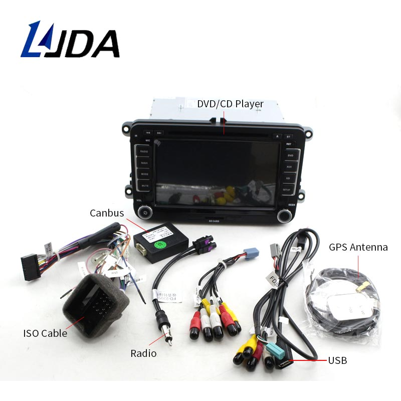 ljda 2 din car dvd player for vw golf 6 golf 5 passat b7 cc b6 seat le