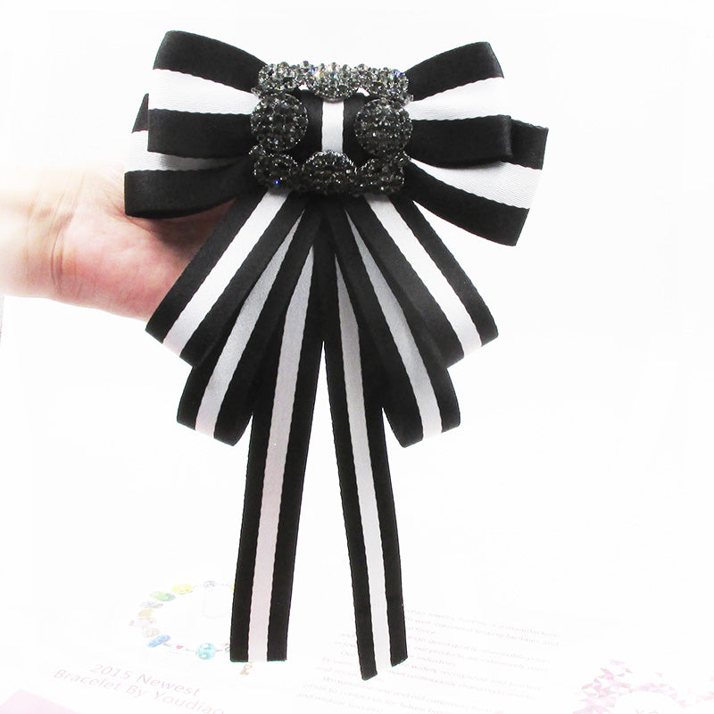 e9a73f1a334 White black Vintage Fabric Bow Brooches Women Neck Tie Stripe Pins Party  Wedding Large Ribbon Brooch ...