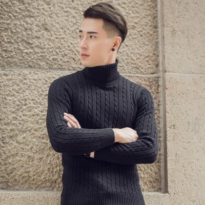 9892949f6a ... 2018 Fall Winter Thick Warm Cashmere Sweater Men Turtleneck Men Brand  Mens Sweaters Slim Fit Pullover ...