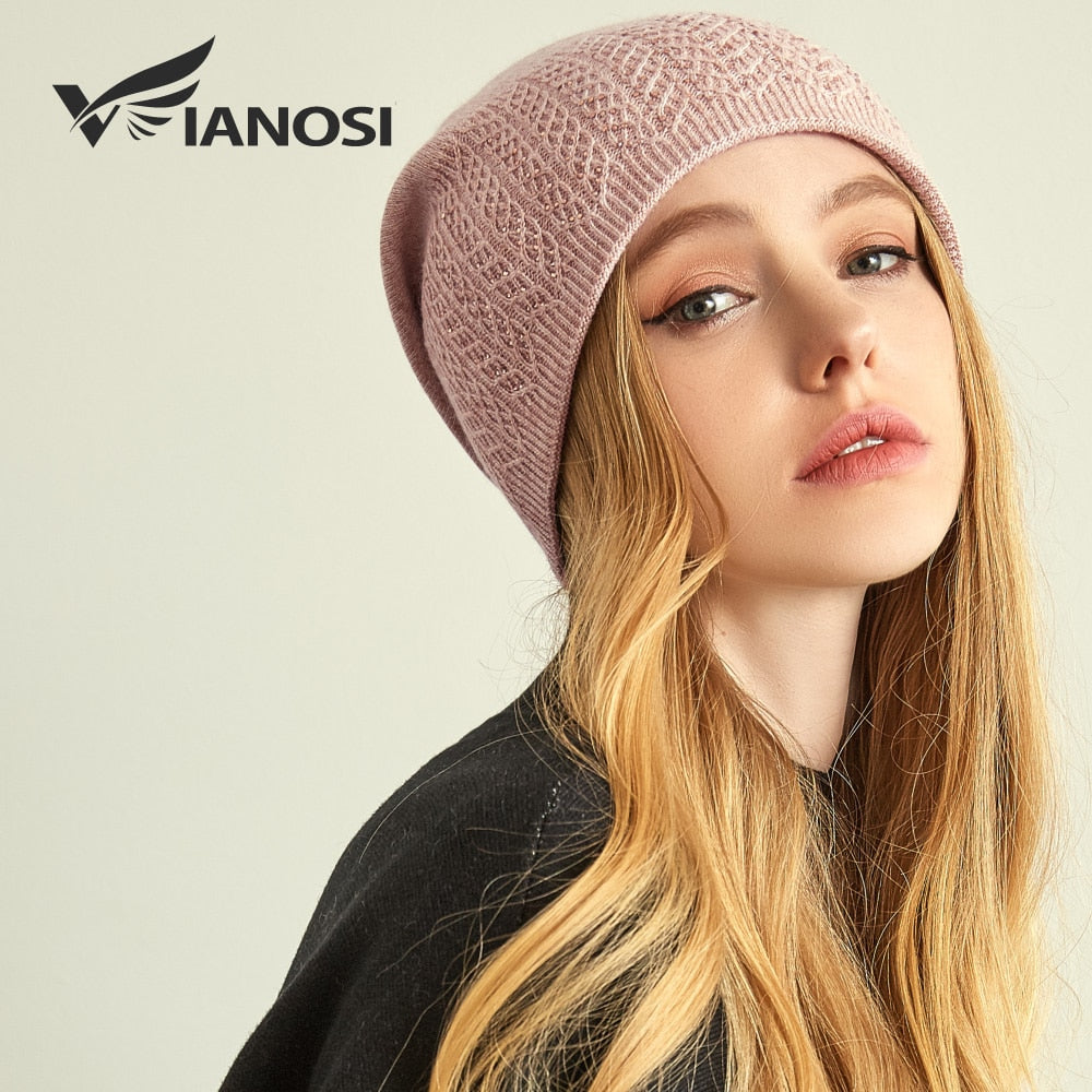fb653a39a3209 Vianosi winter knitted wool hat for women warm casual beanie caps winter  brand gorros mujer invierno