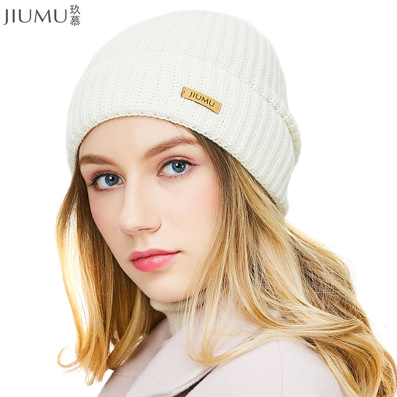 JIUMU Wool Women Beanie 2018 New Thick   Warm Winter Hat Brand Casual  Women s Knitted Chunky ... bb5bd0e491c