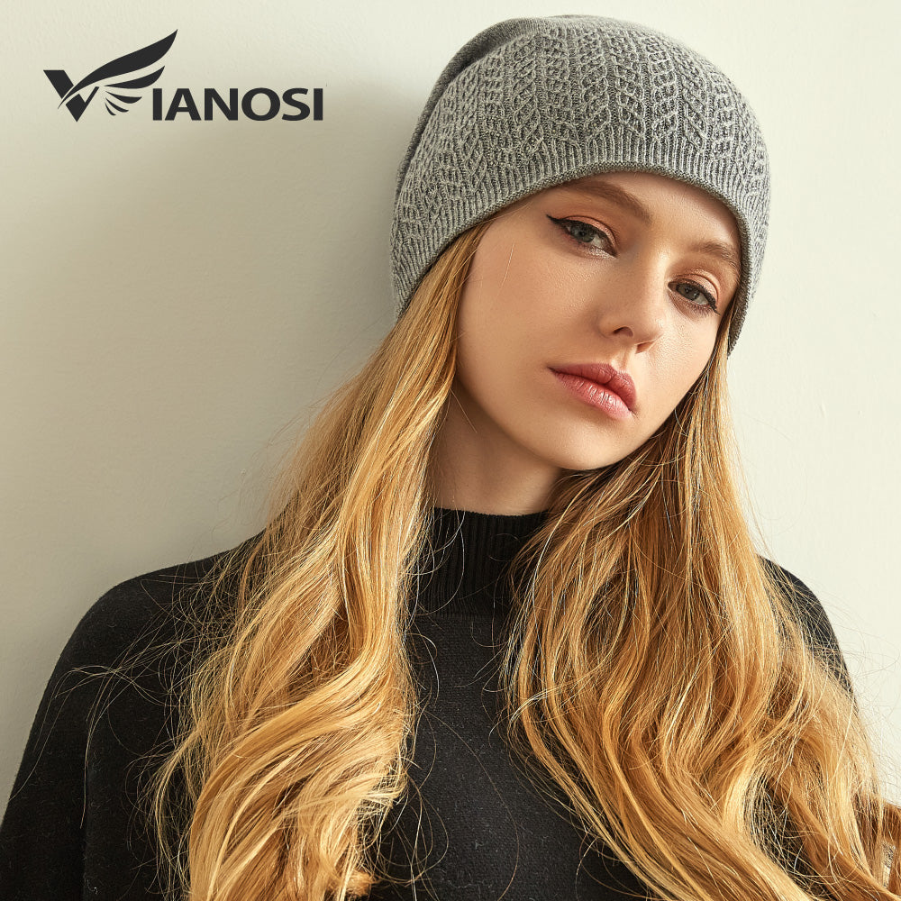 4b3fc6920ee ... VIANOSI Winter Knitted Wool Hat For Women Warm Casual Beanie Caps  Winter Brand Gorros Mujer Invierno ...